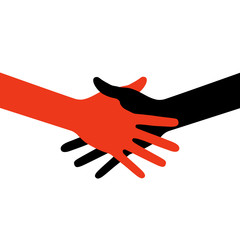 Colorful icon hand shake. Vector illustration.