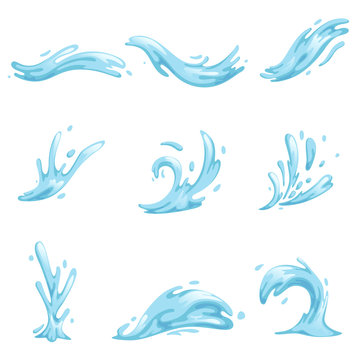 Blue waves and water splashes set, wavy symbols of nature in motion vector Illustrations