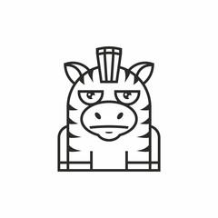 cute zebra icon, thin line style, flat design