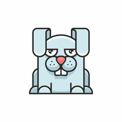 cute hare icon on white background
