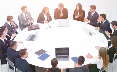 meeting business partners in the conference room .