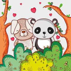 Dog and panda bear loving cute cartoon