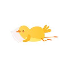 Cute baby chicken sleeoing on pillow, funny cartoon bird character vector Illustration on a white background