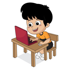 Kid playing computer.vector and illustration.