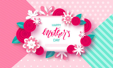 Happy Mother's Day - banner. Beautiful Background with flowers. Vector Illustration