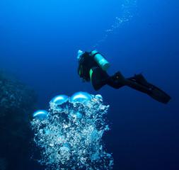Diver and bubbles.