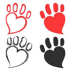 pet paw hearts design