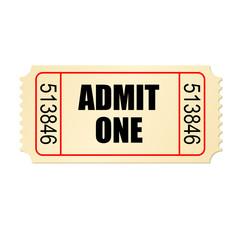 Retro style cardboard cinema ticket