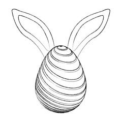 easter egg with rabbit ears decoration vector illustration sketch design