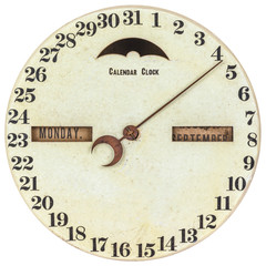 Vintage calendar clock with day of the month indication