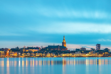 Evening view of the Dutch city of Nijmegen