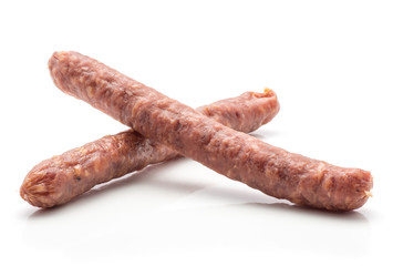 Hungarian dry sausages pepperoni isolated on white background two smoked in natural casing mixed pork beef.