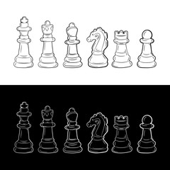 Set of chess pieces. Vector illustration