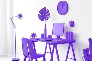Purple home office interior