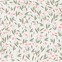 Seamless vector pattern with delicate twigs and flowers. Spring background.