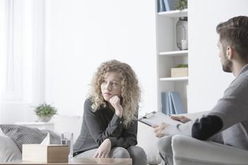 Sad woman with anxiety problem