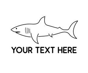 shark animal line logo design illustration