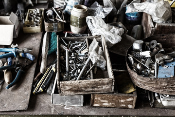 tools for repair are scattered