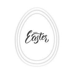Easter. Paper cut egg with Easter lettering. Easter card template