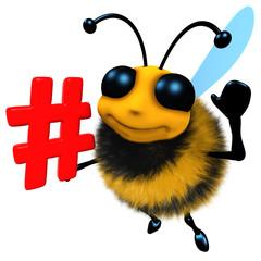 3d Funny cartoon honey bee character holding a hashtag symbol