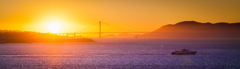 Golden Gate Bridge at sunset, California, USA