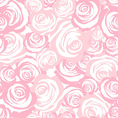 Roses seamless pattern. Pink vector background
