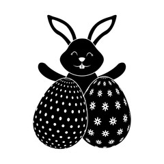 happy cute rabbit with two easter eggs decoration vector illustration black and white image
