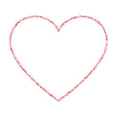Red Hand Drawn Thin Ñontour Grunge Heart logo. Vector illustration.