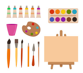 Painting tools elements cartoon colorful vector set.