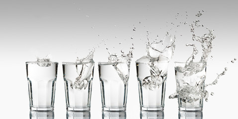 Intensity growth represented with a progression of different splashes on a glass of water