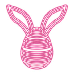 easter egg with rabbit ears decoration vector illustration pink neon image