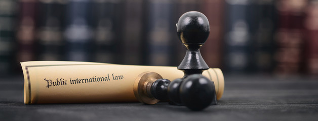 Public international law, Notary seals and Law books on a  wooden background.