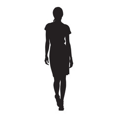 Business woman walking, isolated vector silhouette. Sexy lady, catwalk, front view