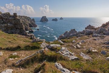 Splendid landscape of rocky coast of promontory Pointe du Raz in Brittany, France