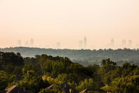 Vinings Neighborhood with downtown skyline in the back, Atlanta, Georgia, USA