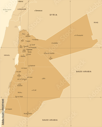 Jordan Map Info Graphic Vector Illustration Stock image and