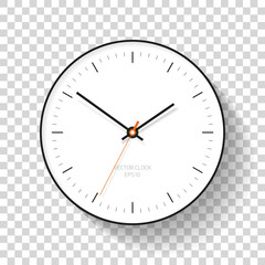 Simple Clock icon in flat style, minimalistic timer on transparent background. Business watch. Vector design element for you project