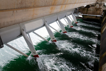Hydroelectric staion in a storm barrier in the Eastern Scheldt Netherlands Wall mural