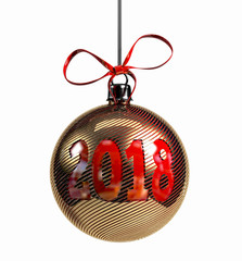 Red Christmas Ball with golden spark. New Year 2018 Concept. 3d Rendering Isolated on White Background.