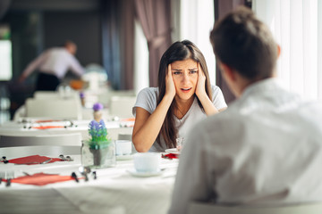 Disaster news.Reaction for negative event.Shocked woman in disbelief.Desperate angry female hearing disappointing information.Loosing job,getting a divorce,breaking up.Worried woman with problems