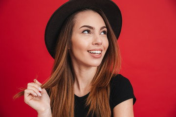 Close up of a happy stylish girl wearing hat