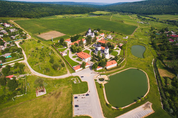 Dron View on Monastery Complex with Tow Lakes