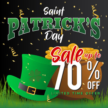 Realistic St. Patrick's day background and sale banner