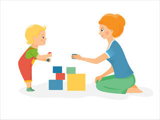 Cartoon mother plays with kid. Vector illustration. Isolated on white background