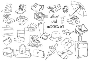 A set of different types of shoes and accessories.