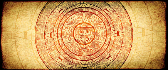 Grunge background with aztec calendar