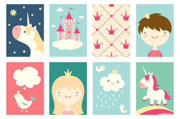 Set of banners with cute fairy-tale characters