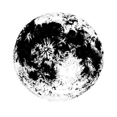 Moon isolated on white background. Elegant drawing of celestial body, space astronomical object, satellite or planet. Monochrome vector illustration hand drawn in contemporary dotwork style.