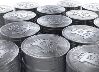 3d rendering of stacks of Bitcoins new cryptocurrency