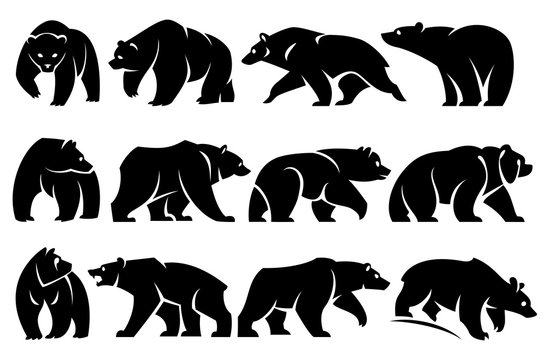 Illustration of stylized bears in profile. Black silhouette. Isolated on a white background.